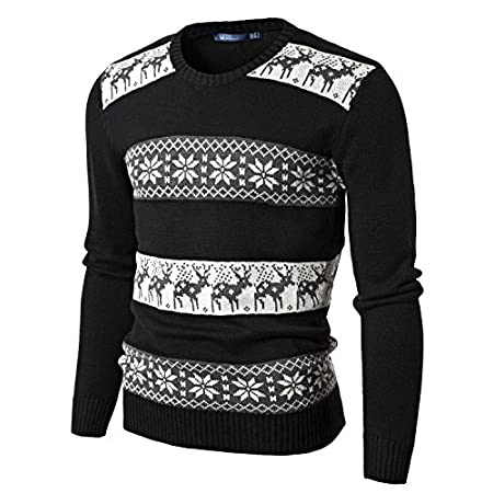 Doublju Mens Crew Neck Sweater with Snowflake Pattern Lambswool British Long-Sleeve Cable V-Neck Pair Turtleneck Moose Long-Sleeve Mens Stripe Green Quarter-Zip V-Neck Turtleneck New York