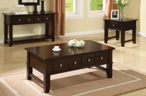 Image of Poundex Console Sofa Table With Storage Drawers in Espresso Finish by Poundex (F6192)