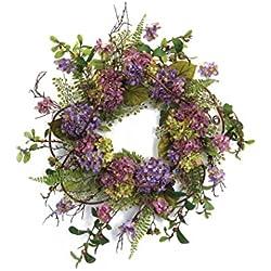 Melrose International Hydrangea Wreath, 22-Inch, Shades of Purple