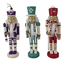 Christmas Nutcracker Figure Ornaments Fun Candy Cane Soldiers in Purple, Teal, and Red Wood Set of 3