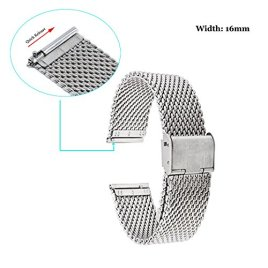 Fitian-16mm-Mesh-Stainless-Steel-Metal-Watch-Band-Wristband-Strap-Watchband-for-Moto-360-2nd-Generation-Woman-42mm-Smart-Watch-and-Other-Watches-with-16mm-Band-Width