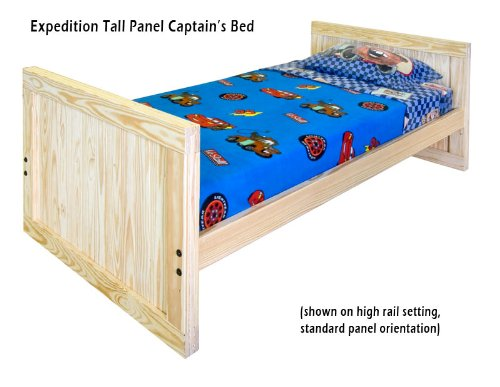 Image of Kids Captains Bed- Twin Size - Tall Headboard and Footboard with Trundle Option Solid Wood (B003H1W5QQ)