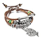 Women's Alloy Genuine Leather Bracelet Bangle Rope Brown Owl Surfer Wrap Vintage Tribal Adjustable Fit 7~9 inch