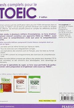 Livres Couvertures de Tests complets pour le TOEIC, avec 5 tests blancs corrigés au format de l'épreuve