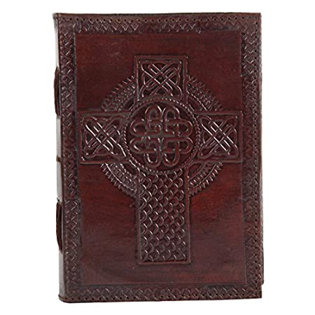 Celtic Cross Embossed Leather Journal Religious Gifts for Men Women Key Features Dimensions in Inches: 7(H) x 5(W) Inches. 200 pages (counting both sides). White Unlined Paper. Easy To Write, Smooth Texture, Use Any Pen A Fair Trade Pro...
