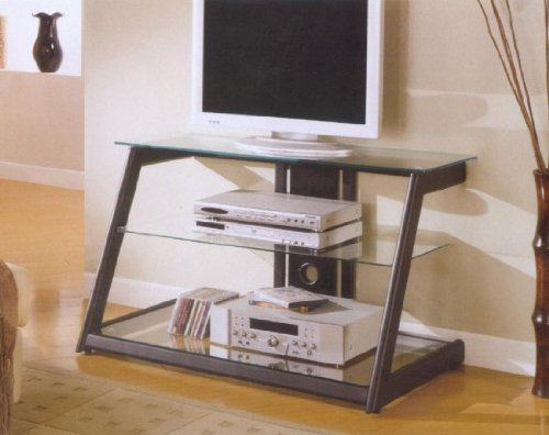 Image of Black Sloped TV Stand With Glass Shelves (B0017DMVTC)