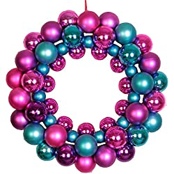 FXTXYMX Christmas Decorations Wreath Ring Round PE Ball Decorating for Outdoor Christmas Tree Door Wall (Purple)