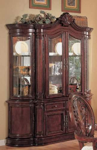 Image of Cherry Finish Lighted Dining Room China Cabinet Buffet (VF_AZ00-45611x28241)