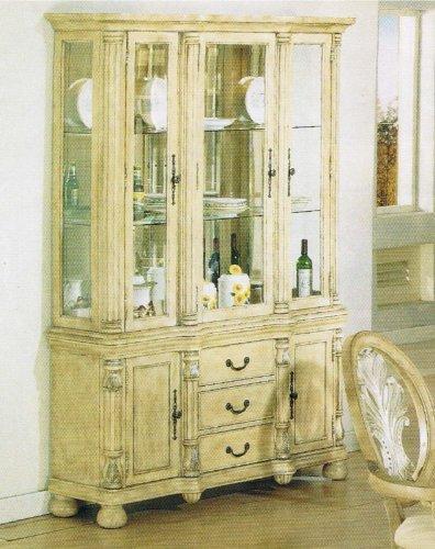 Image of China Cabinet Buffet Hutch Antique Buttermilk Finish (VF_AZ00-39510x21546)