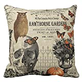 """Modern vintage Halloween owl and skull Throw Pillow Cover 18"""" X 18"""""""