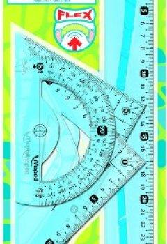Livres Couvertures de Maped M244304 Kit de géométrie en plastique (1 équerre 45°, 1 équerre 60°,  1 rapporteur, 1 règle 30 cm)