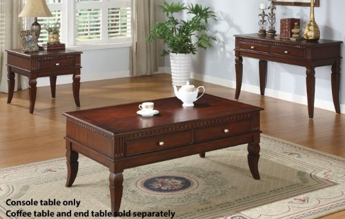 Image of Console Table with Storage Drawers in Cherry Finish (VF_F6236)