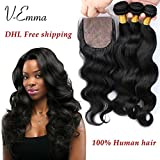 V-Emma 8A brazilian virgin hair with silk closure 3 bundles body wave with closure three part human hair ms beyonce hair with closure and bundles 22x24x24+20