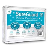 Set of 2 Standard Size SureGuard Pillow Protectors - 100% Waterproof - Zippered - Breathable Soft Cotton Terry Cover - Block Bed Bugs, Dust Mites, Allergens - 30 Day Return Guarantee, 10 Year Warranty