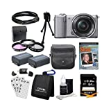 Sony Alpha a5000 ILCE-5000L/S ILCE5000LS ILCE5000 20.1 MP SLR Camera(Silver) Bundle with High Speed 64GB Card, Spare Battery (Qty 2), 3 Piece filter kit, DVD SLR Tutorial, Deluxe Case and More!