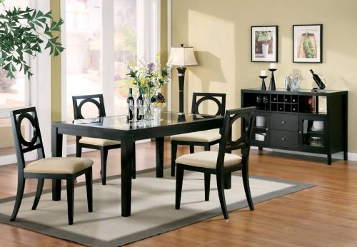 Image of Rectangular Dining Table with Glass Top in Black Finish (VF_AZ00-76769x33766)