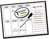 "Calendar Planner ● Dry Erase Vinyl Decal Sticker ● Weekly Calendar ● Daily Menu To Do List Tasks Planning & Organization ● Use w/ Dry Erase & Liquid Chalk Markers (1 Included) ● 15"" x 11"" Inches"