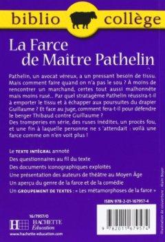 Livres Couvertures de La Farce de Maître Pathelin, numéro 17, texte intégral. Elève