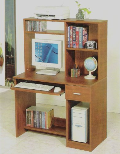 Picture of Comfortable All new item Natural wood finish computer desk and hutch (B0014B4AXM) (Computer Desks)