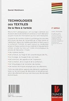 Livres Couvertures de Technologies des textiles - 2ème édition - De la fibre à l'article