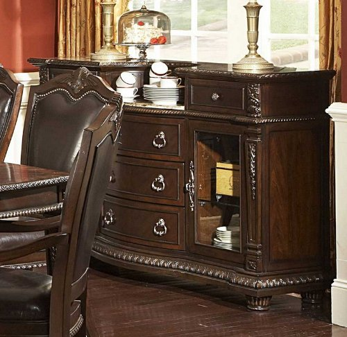 Image of Sideboard Server with Inset Marble Top in Rich Brown (VF_HE1394-40)