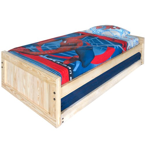 Image of Kids Captains Bed- Twin Size - Low Headboard and Footboard Includes Trundle Solid Wood (B003H1U0K4)