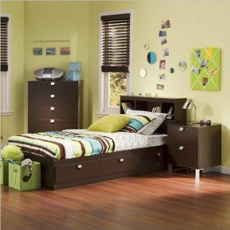 Image of South Shore Cakao Kids Twin 3 Piece Bedroom Set with Bookcase Headboard in Chocolate (3259080-3PKG)