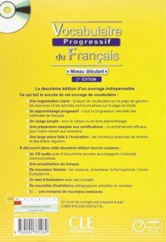 Livres Couvertures de Vocabulaire progressif du français - Niveau débutant + Livre + CD - 2ème édition