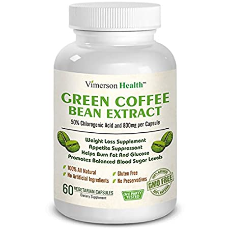 Vimerson Health Green Coffee Bean Extract Chlorogenic acid is a natural compound found in Green Coffee Beans. This compound, known as an ANTIOXIDANT, also slows the release of glucose into the bloodstream after a meal. This helps to inhibit the abso...
