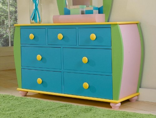 Image of Kids Drawer Dresser with Bun Feet in Multicolored Finish (AZ00-46862x20170)