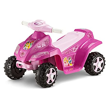 Your little girl will feel like a Princess on this little heart jeweled quad ride on with this easy to ride and operate 6 volt Princess ride on. Kid Trax Power Trax rubber traction strip tires for sound traction and the easy push button drive system ...