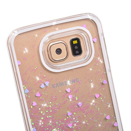 Galaxy-S7-Case-Wuloo-Samsung-Galaxy-S7-Hard-Case-Fashion-Creative-Design-Flowing-Liquid-Floating-Luxury-Bling-Glitter-Sparkle-Love-Heart-Hard-Case-for-Grils-Children