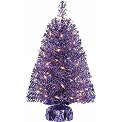 Holiday Time Xmas Pre-Lit 2' Noble Fir Artificial Trees, Clear Lights, Gift Wrap Base Christmas Tree Stands, PURPLE (1)