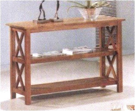 Image of Cross Design Brown Finish Console Sofa Table (VF_AZ00-13238x29240)