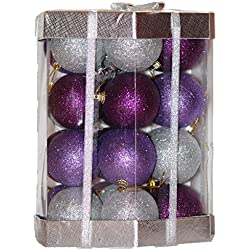 28 Count Glitter Christmas Ball Ornaments Set (Purple / Lilac / Silver Glitter Mix)