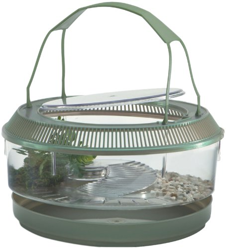 Turtle Tank Supplies:Lee's Fire Belly Landing, Round w/Lid, Handle