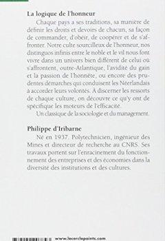 Livres Couvertures de La logique de l'honneur - Gestion des entreprises et traditions nationales