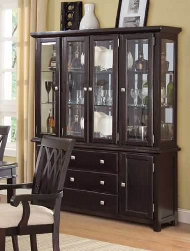 Image of China Cabinet Buffet Hutch with Storage Drawers - Dark Brown (VF_F6170)
