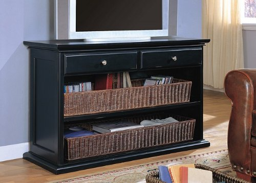 Image of Distressed Black Wicker Basket TV Stand Console Table (VF_AZ00-7757x28380)