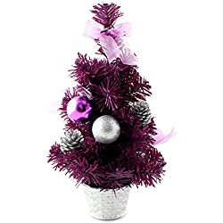 12inch Mini Desk Top Table Top Decorated Christmas Tree with Bows & Baubles Ornaments Decorations, Purple