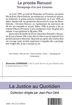 Livres Couvertures de Le procès Ranucci: Témoignage D'un Juré D'assises