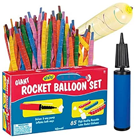 Blast off into the skies with the Toysmith Giant Rocket Balloon Set. These rocket balloons can be inflated up to 40-inches in length, Let them go and watch them zoom skyward. The rocket balloon pack contains eighty-five (85) latex balloons in various...