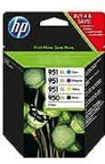 HP 950XL/951XL d'Encre Noire/Cyan/Magenta/Jaune Grande Capacité Authentiques (C2P43AE), Paquet de 4 Cartouches