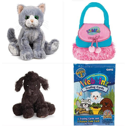 Webkinz Pet Plush Combo Pack (Large) - Silversoft Cat/Lil' Kinz Black Poodle/Turquoise Purse/Trading Cards