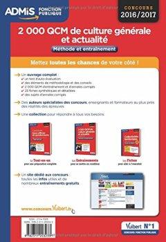 Livres Couvertures de 2000 QCM de culture générale et actualité - Méthode et entraînement - Catégories B et C - Concours 2016-2017
