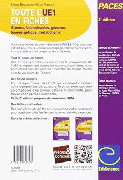 Livres Couvertures de Toute l'UE1 en fiches PACES - 2ed - Atomes, biomolécules, génome, bioénergétique, métabolisme