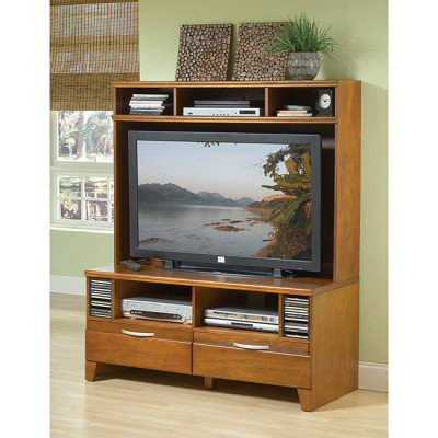 Image of Bernards Furniture Pecan Plasma TV Stand with Hutch (7987, 7986)