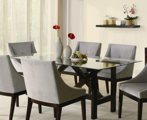 Image of Cappuccino Wood Glass Top Dining Table - Coaster 102231 (VF_AZ00-76548x36122)