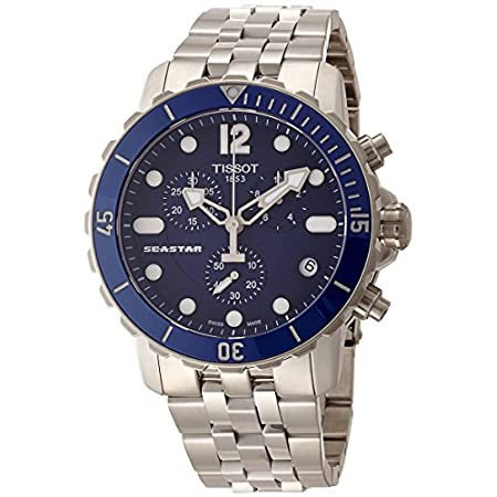 Tissot Men's Seastar Stainless steel case, Stainless steel bracelet, Blue dial, Quartz movement, Scratch-resistant sapphire, Water resistant up to 30 ATM - 300 meters - 1000 feet