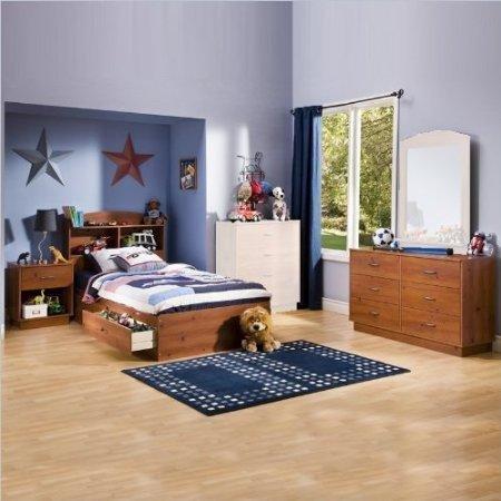 Image of South Shore Logik Kids Sunny Pine Twin Wood Storage Bed 4 Piece Boys' Bedroom Set (3342213-4PKG)